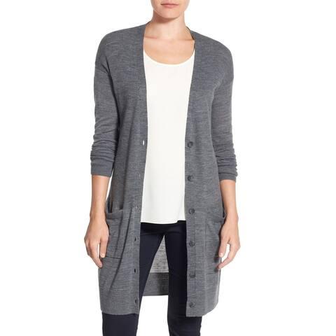 Halogen Womens Sweater Gray Size Large L Rib Knit Button Cardigan Wool