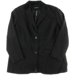 Ralph Lauren Womens Plus Ailya Wool Velvet Trim Blazer