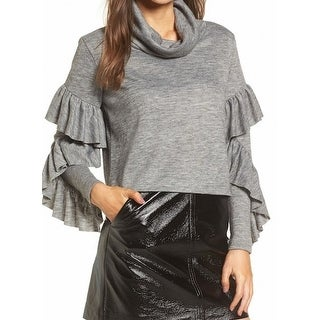 Leith NEW Heather Gray Womens Size XS Ruffled-Sleeve Cowl Neck Sweater