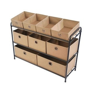 Target Marketing 44032 Deluxe Storage Rack with Bins, Taupe