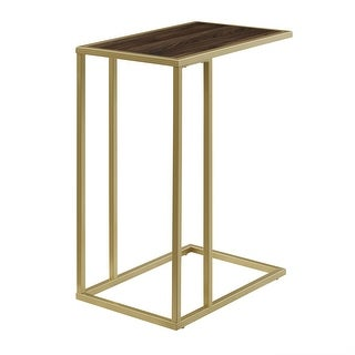 """Delacora WE-BDF20SCST  12"""" Long Wood Top Laminate and Metal Accent Table"""