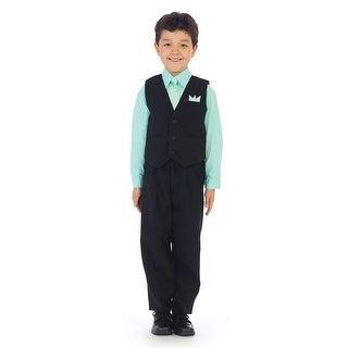 Angels Garment Little Boys Pastel Lime Shirt Pin Stripe Vest 4 Pc Pants Set