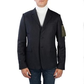 Dior Homme Men's Soft Virgin Wool Padded Sportscoat Jacket Pinstriped Black