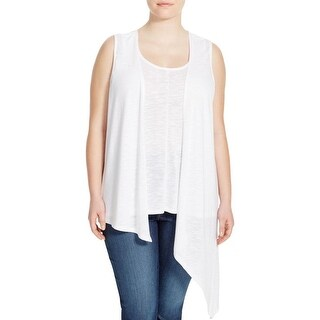 Love Scarlett Womens Plus Casual Top Slub 2Fer