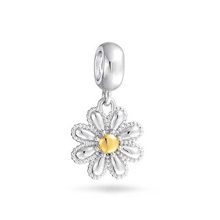 Bling Jewelry Gold Plated Daisy Flower Dangle Bead Charm .925 Sterling Silver