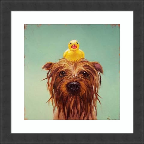 Bath Time (Dog and Duck) by Lucia Heffernan Framed Wall Art Print