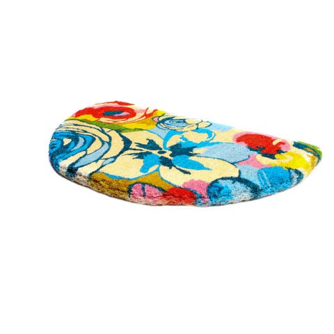 Watercolor Floral Semi-Round Doormat Extra Thick Handwoven, Durable