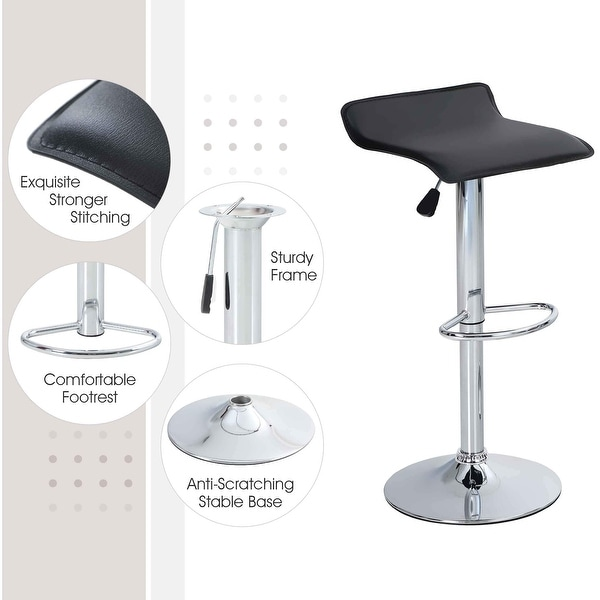 Bar Stool Square Set of 2 Swivel Adjustable Bar Height Chairs Water Resistant PU Leather. Opens flyout.