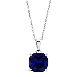 2 7/8 ct Created Sapphire Solitaire Pendant in 14K White Gold - Blue