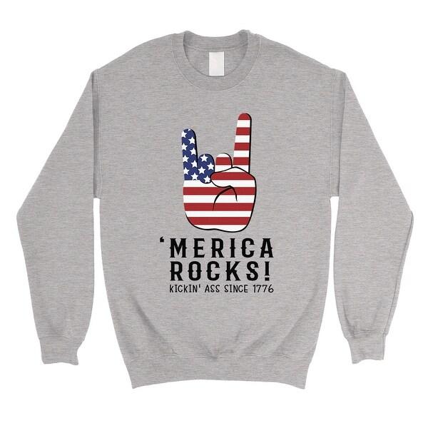b362c1690d453 Shop Merica Rocks Sweatshirt Grey Unisex Crewneck 4th Of July Outfit ...