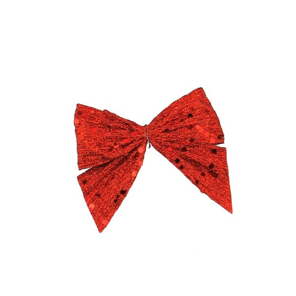 "3.5"" Red Glittered Sequin Clip-On Bow Christmas Ornament"