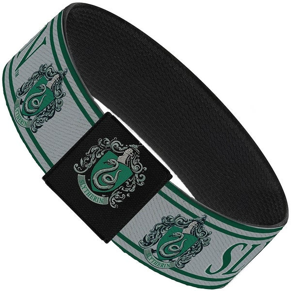 "Slytherin Crest Stripe3 Green Gray Elastic Bracelet 1.0"" Wide"