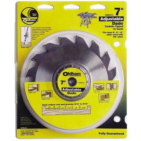 Oldham 7005012 Adjustable Carbide Dado Blade, 7""