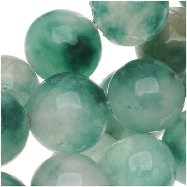 Green And White Jade 8mm Round Beads - 15 Inch Strand