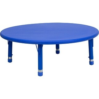Offex 45'' Round Height Adjustable Blue Plastic Activity Table