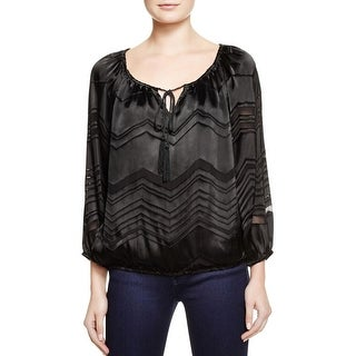 Ella Moss Womens Blouse Silk Chevron