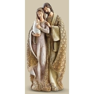 """12.75"""" Faux Wood Holy Family Christmas Table Top Figure"""