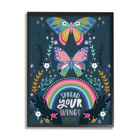 Stupell Industries Spread Your Wings Quote Intricate Butterfly Patterns Framed Wall Art