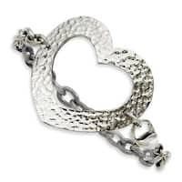 Stainless Steel Textured Heart 8in Bracelet