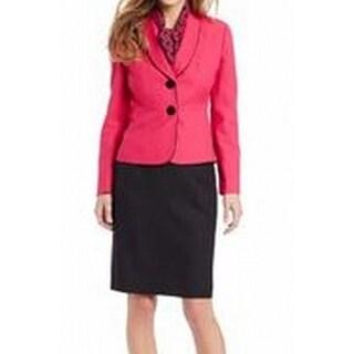 Le Suit NEW Pink Black Contrast Women's Size 4 Shawl-Collar Blazer Set