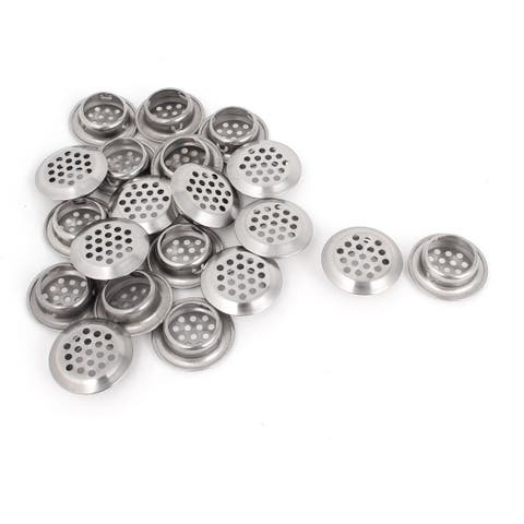 Unique Bargains Home Kitchen Silver Tone 25mm Bottom Dia Cabinet Air Vent Louver 20 Pieces