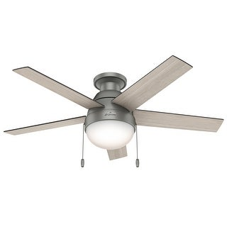 "Link to Hunter 46"" Anslee Low Profile Ceiling Fan with LED Light Kit and Pull Chain - Matte Silver Similar Items in Ceiling Fans"