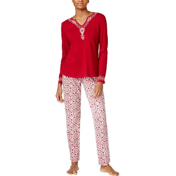 91f700fd3b Lucky Brand Womens Embellished Knit PJ Set Ivory Blockprint Pajama Set  Large L