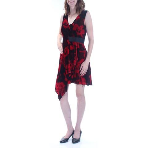 RACHEL ROY Womens Red Velvet Sleeveless V Neck Knee Length Faux Wrap Party Dress Size: 2