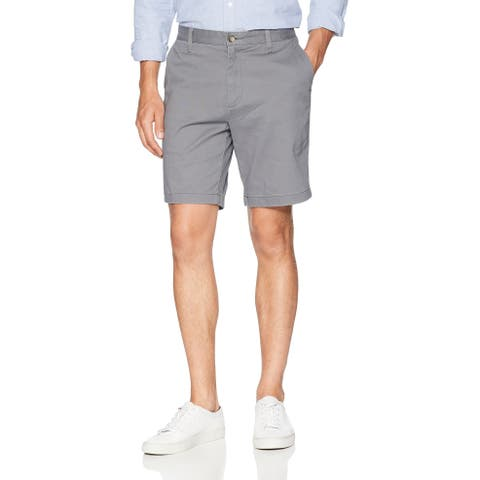 Nautica Men Shorts Castle Rock Gray Size 38 Classic Fit Flat-Front Chino