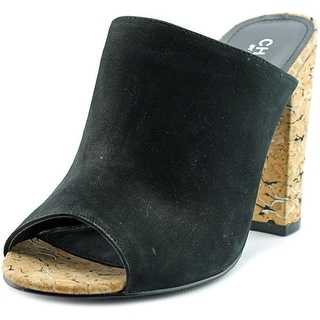 Charles By Charles David Gansevoort Women Open Toe Suede Black Slides Sandal