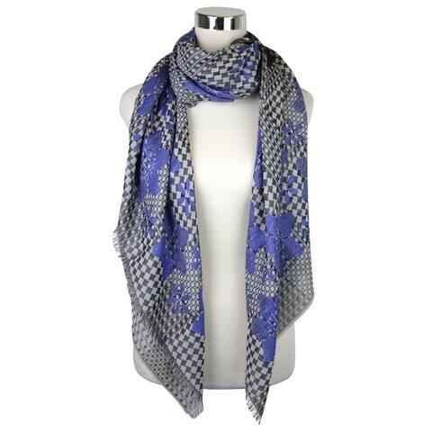 Alexander McQueen Women's Pied De Poule Black / Blue Silk Wool Cotton Scarf 376020 1068 - One size