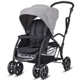 Costway Folding Baby Sit and Stand Ultra Tandem Stroller Pushchair Double Kids Gray