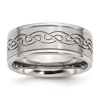 Stainless Steel Scroll Design 9mm Brushed & Polished Band