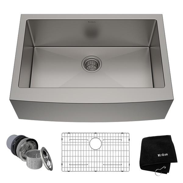 KRAUS Standart PRO Stainless Steel 30 in 1-Bowl Farmhouse Kitchen Sink. Opens flyout.