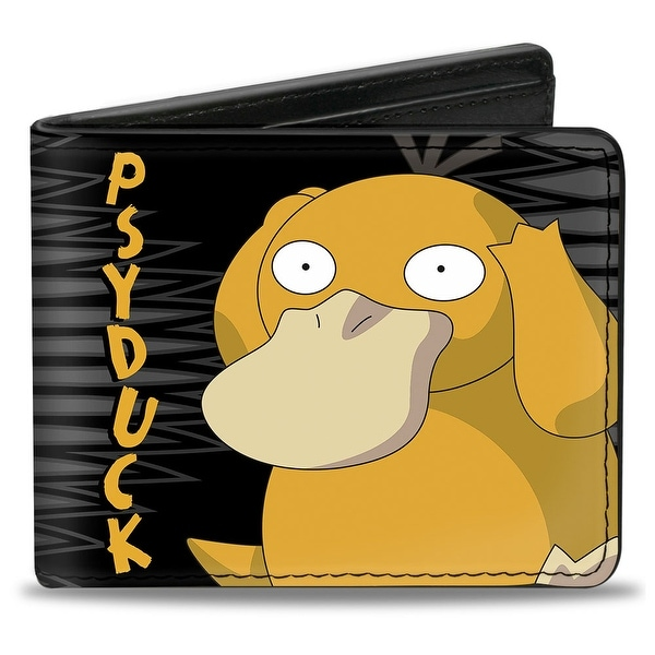 Psyduck Headache Pose Brain Waves Black Gray Gold Bi Fold Wallet - One Size Fits most