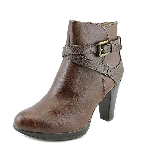 Rialto Pamela Women Round Toe Synthetic Brown Ankle Boot