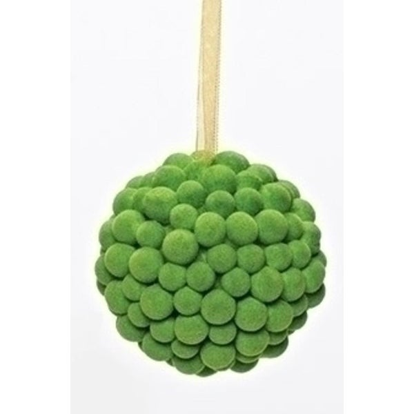 Green Flocked Berry Ball Cluster Modern Christmas Ornament 3.25""