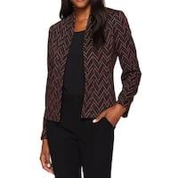 Kasper Red Black Womens Size 8 Chevron-Print Open-Front Jacket