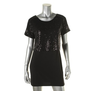 Signature By Robbie Bee Womens Petites Mini Dress Sequined Layered