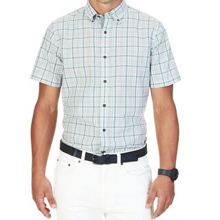Nautica NEW Blue Neuatral Gray Mens Size Medium M Button Down Shirt