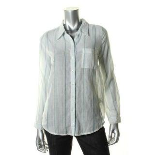 Joie Womens Cotton Striped Button-Down Top