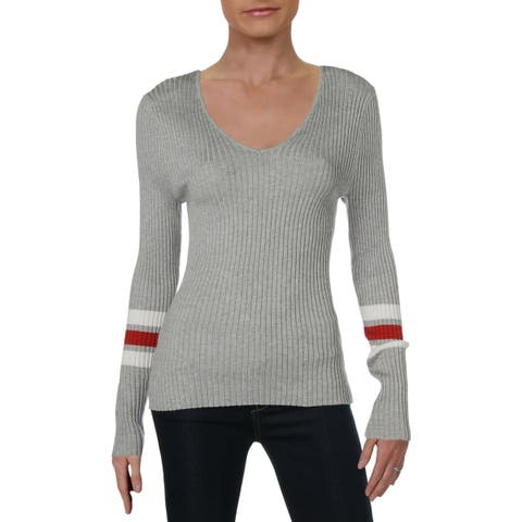 Hooked Up by IOT Womens Pullover Sweater Lace-Up Ribbed Knit - XL