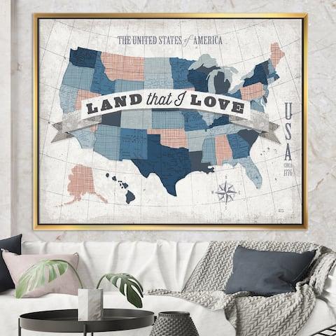 Designart 'American Map Watercolor' Map Framed Canvas - Blue
