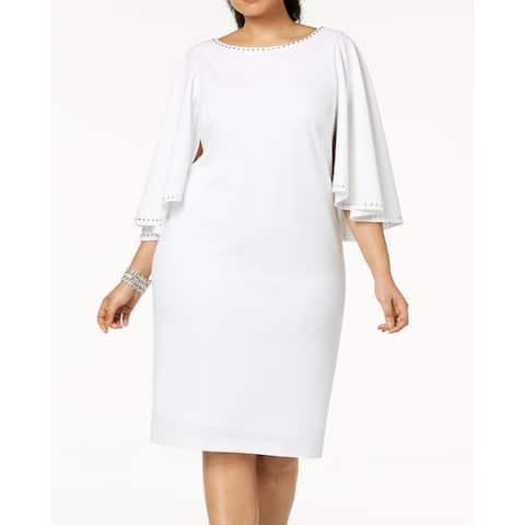 Calvin Klein Women's Dress White Size 14W Plus Sheath Capelet Stoned