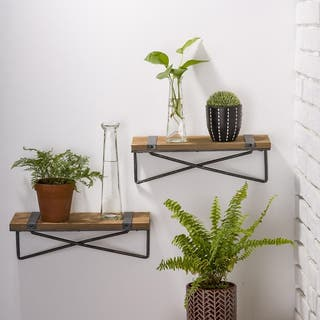 Glitzhome Farmhouse Rustic Metal Wooden Wall Shelf Set of two