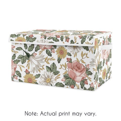 Vintage Floral Boho Collection Girl Kids Fabric Toy Bin Storage - Blush Pink, Yellow and Green Shabby Chic Rose Flower Farmhouse