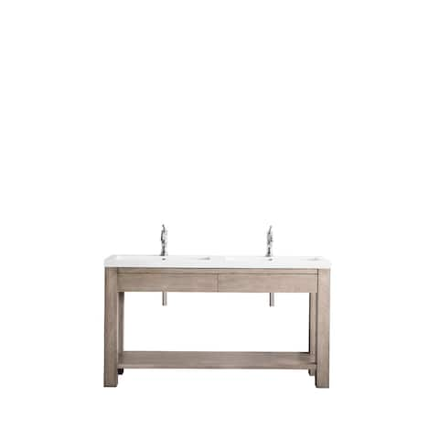 """Brooklyn 63"""" Wooden Sink Console, w/ White Glossy Resin Countertop"""