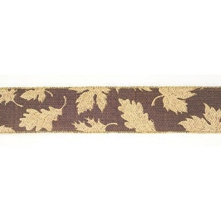 """Brown with Gold Leaves Wired Craft Ribbon 2.5"""" X 60 Yards"""