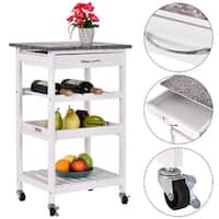 Costway 4-Tier Rolling Wood Kitchen Trolley Island Cart Storage Shelf Drawer Wine Rack