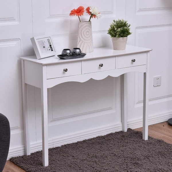 Costway Console Table Hall Side Desk Accent 3 Drawers Entryway White